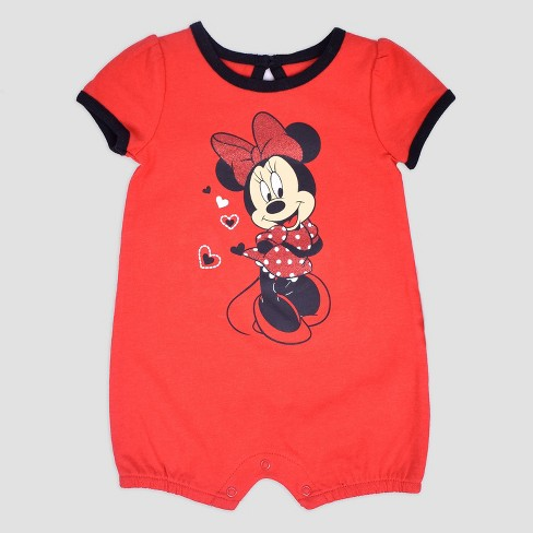 d47d847604e Baby Girls  2pk Disney Mickey Mouse   Friends Minnie Mouse Romper - Red    Target
