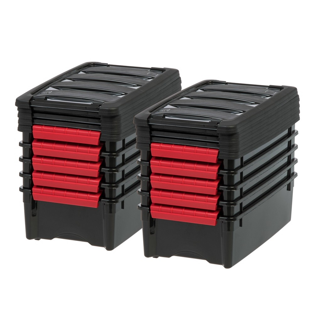 Image of IRIS 10pk 5qt Stack & Pull Storage Box - Black
