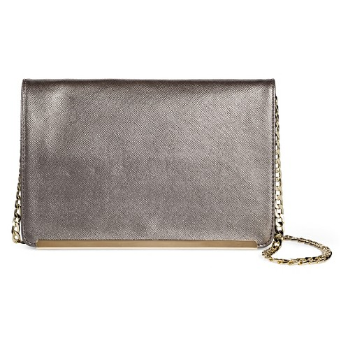 Women's Faux Leather Crossbody Handbag with Button Closure Silver - Mossimo™ - image 1 of 4