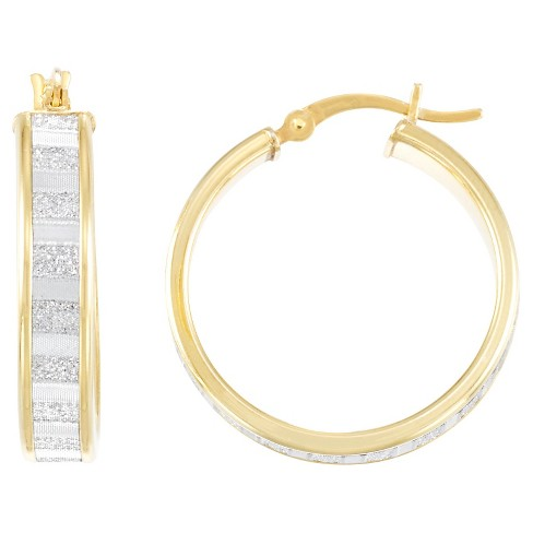 18kt Gold over Silver Baguette Cut Glitter Hoop Earring-Yellow Gold - image 1 of 1