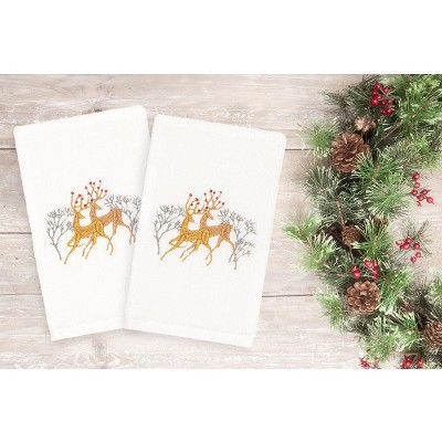 2pk Deer Pair Hand Towels White - Linum Home Textiles