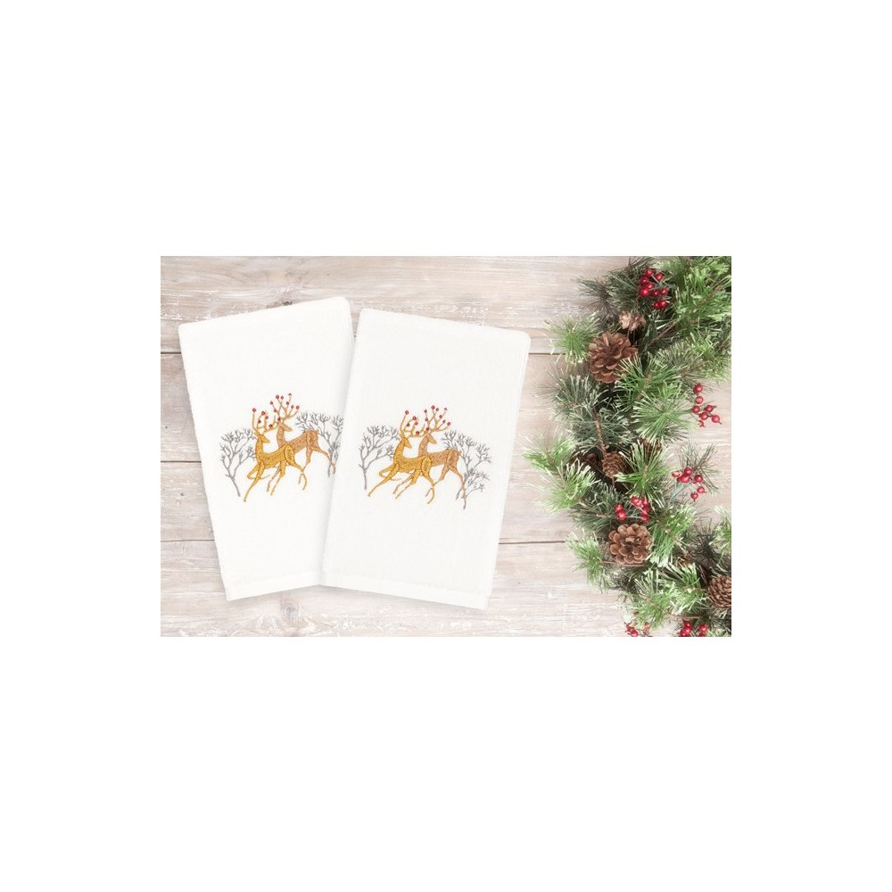Image of 2pk Deer Pair Hand Towels White - Linum Home Textiles