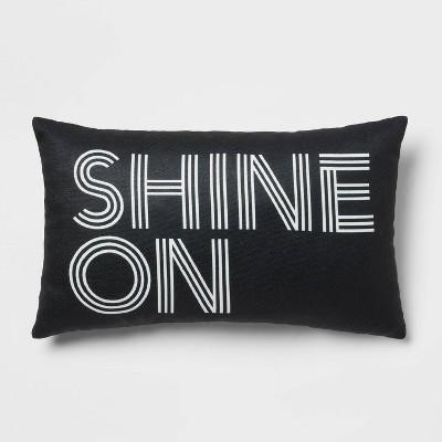 'Shine On' Lumbar Throw Pillow Black - Room Essentials™