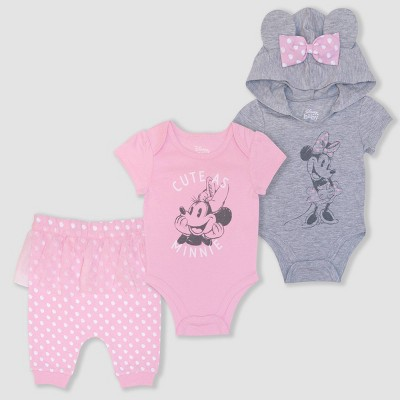 Baby Girls' 3pk Minnie Bodysuits and Pants Set - Pink Newborn