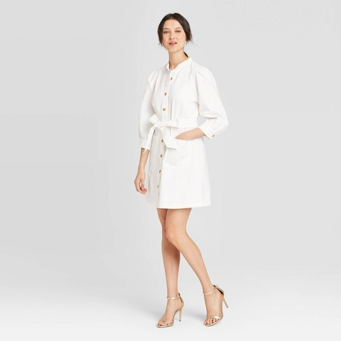Women's Puff 3/4 Sleeve Button-Down Dress - Who What Wear™ White - image 1 of 3