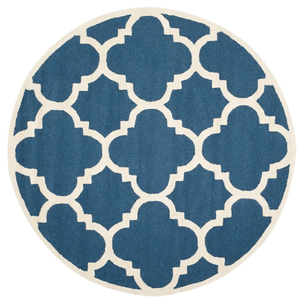 Landon Texture Wool Rug - Navy / Ivory (10' Round) - Safavieh, Blue/Ivory