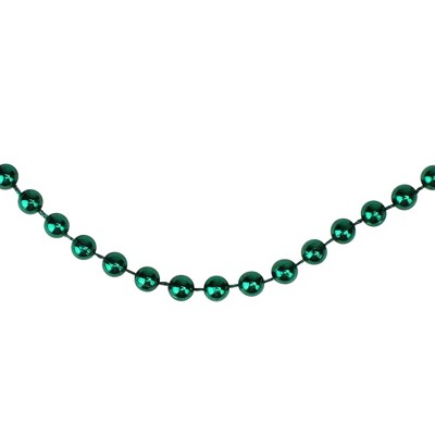 "Northlight 15' x 0.25"" Shiny Metallic Aqua Green Faceted Beaded Artificial Christmas Garland - Unlit"