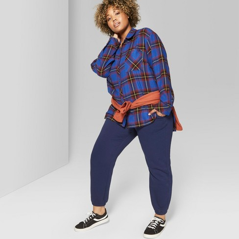77aaf02487a954 Women's Plus Size Plaid Oversized Long Sleeve Button-Down Top - Wild Fable™  Red
