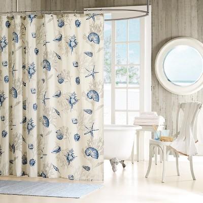Rockaway Starfish Print Cotton Sateen Shower Curtain Blue
