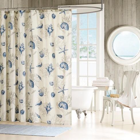 Rockaway Starfish Print Cotton Sateen Shower Curtain Blue Target