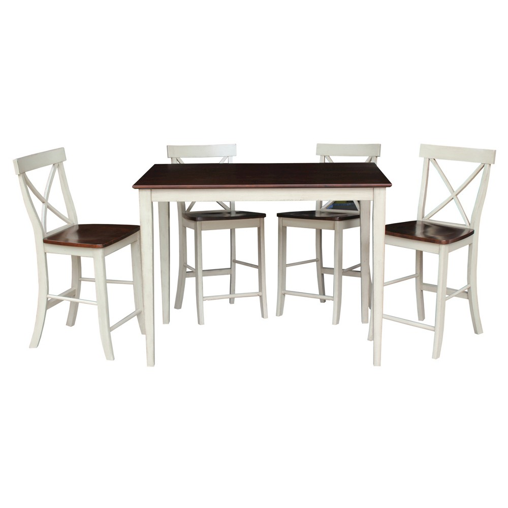 5 Piece Dining Set 30 x 48 Gathering Height Table Wood/Antiqued Almond & Espresso - International Concepts, Brown