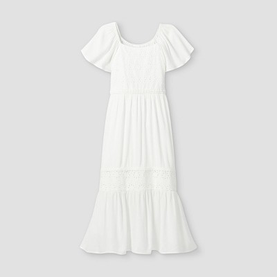 Girls' Eyelet Maxi Short Sleeve Dress - art class™ White