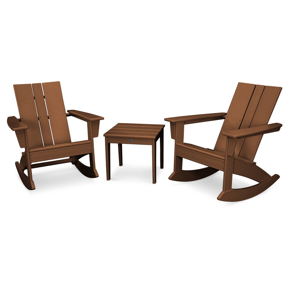 Pleasant Polywood Stcroix 3Pc Patio Adirondack Rocking Chair Set Teak Pdpeps Interior Chair Design Pdpepsorg