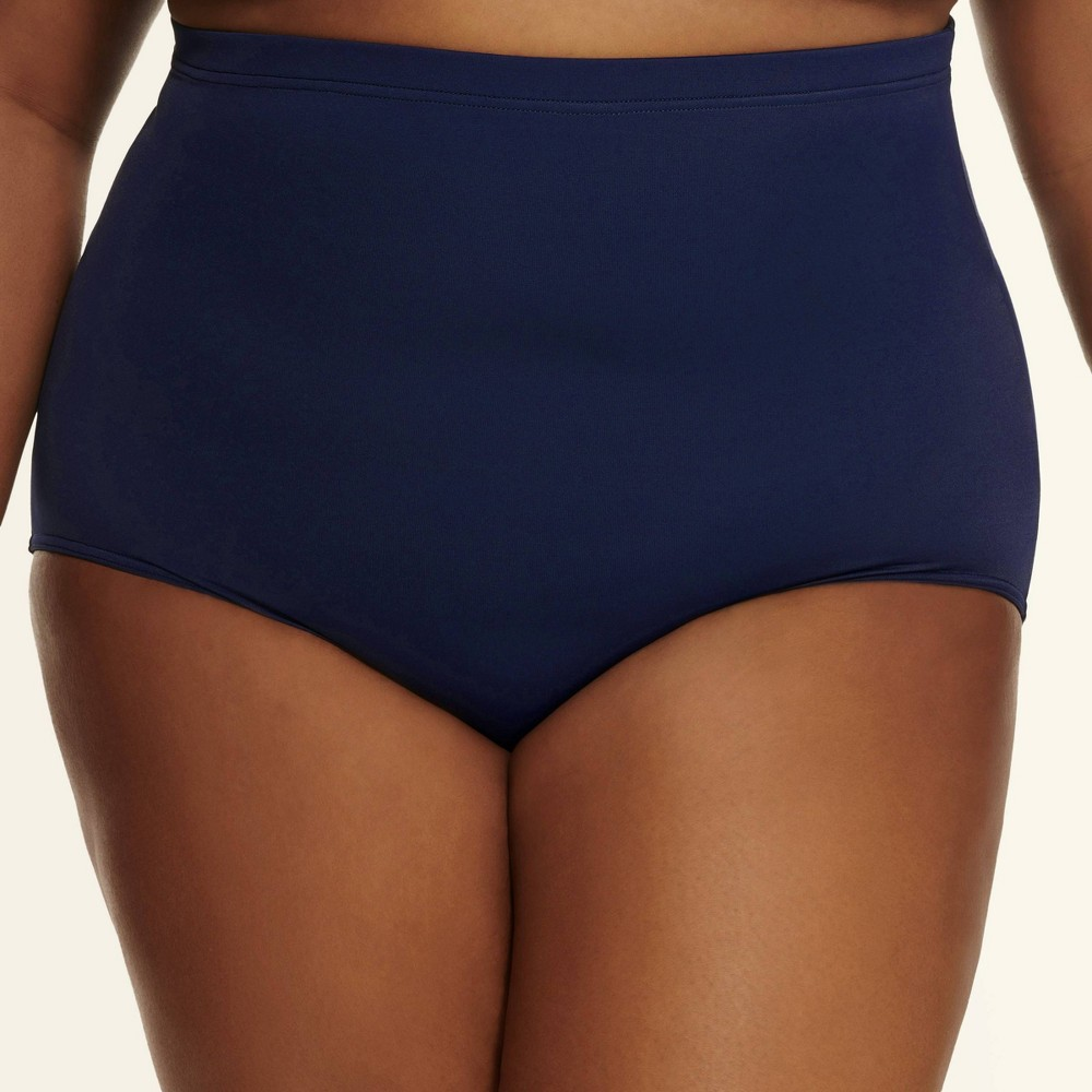 Image of Dreamsuit by Miracle Brands Women's Plus Slimming Control Ultra High Waist Bikini Bottom - Navy 16W, Blue