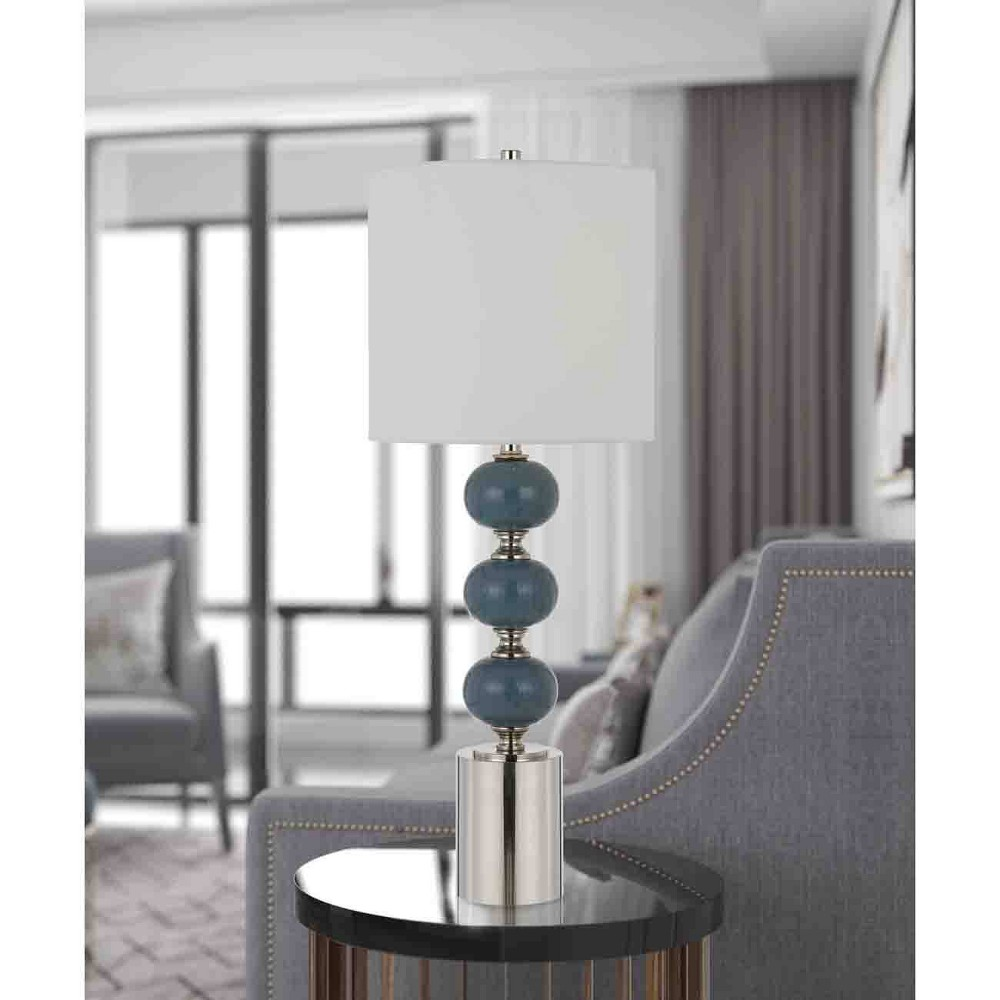 150W 3 Way Malaga Ceramic Table Lamps Slate Blue/Chrome (Set Of 2) (Lamp Only)- Cal Lighting