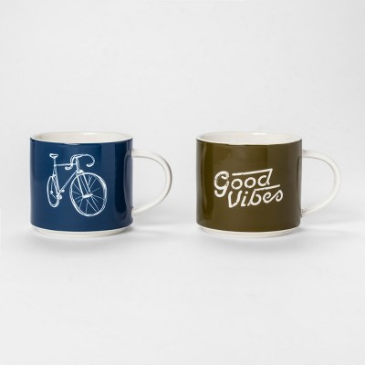 Modern Workshop Mug 15oz Blue/Green - Set of 2 - Room Essentials™