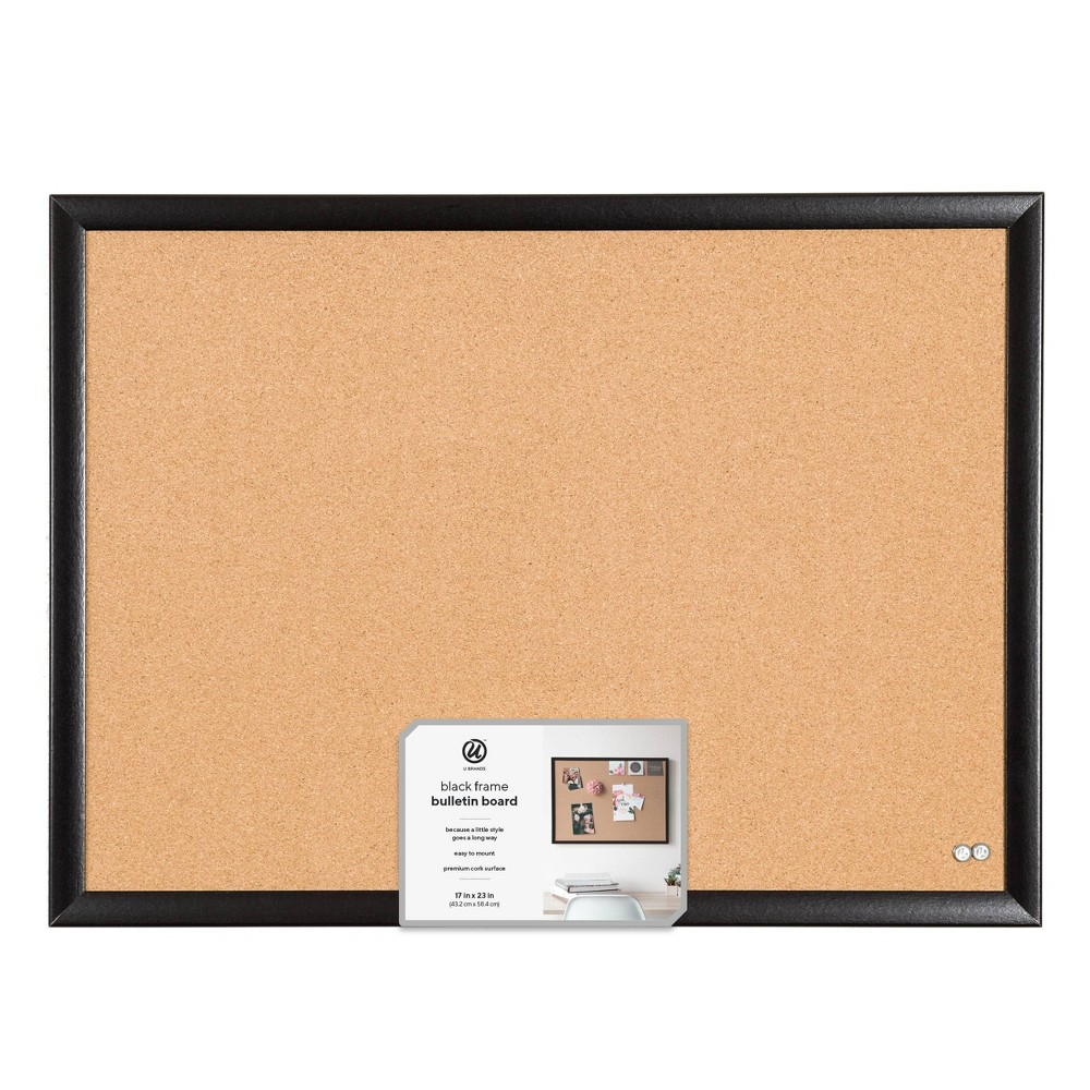 "Best U Brands 24""x18"" Cork Bulletin Board Black MDF Frame"