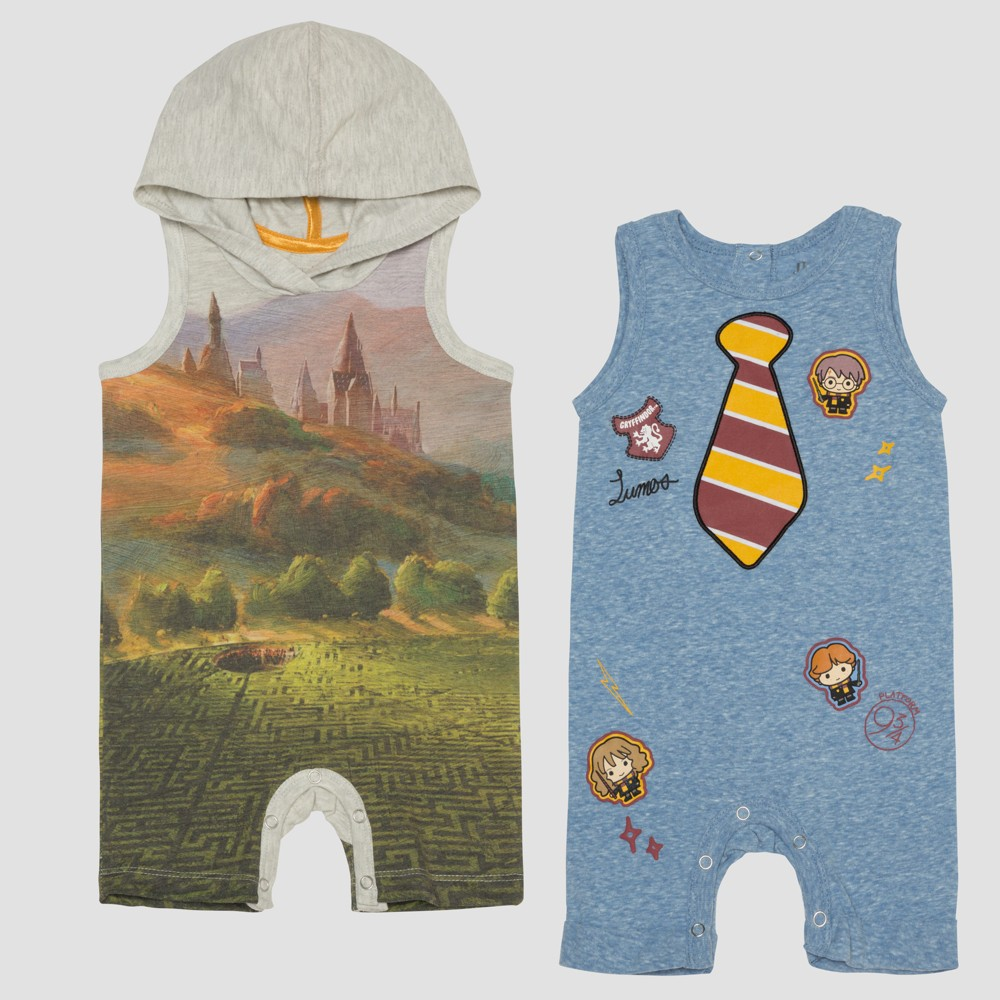 Baby Boys' Harry Potter 2pk Sleeveless Rompers - Blue/Gray 0-3M, Multicolored