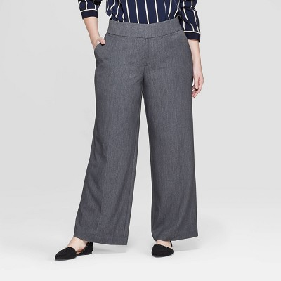 Women's Plus Size Mid-Rise Wide Leg Pants - Ava & Viv™