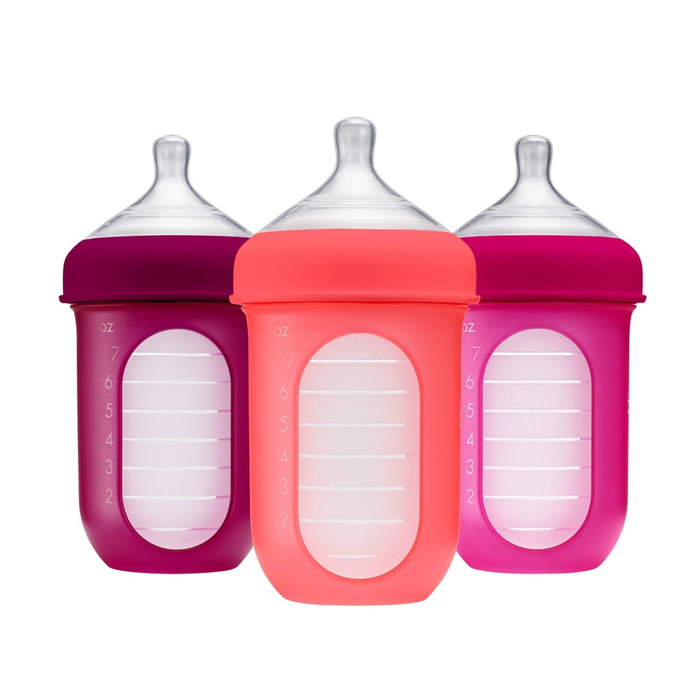 Image of Boon NURSH 8oz 3pk Silicone Bottle - Pink
