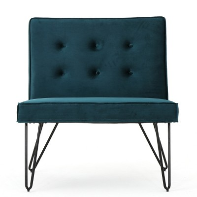 Darrow New Velvet Modern Armless Chair Teal - Christopher Knight Home