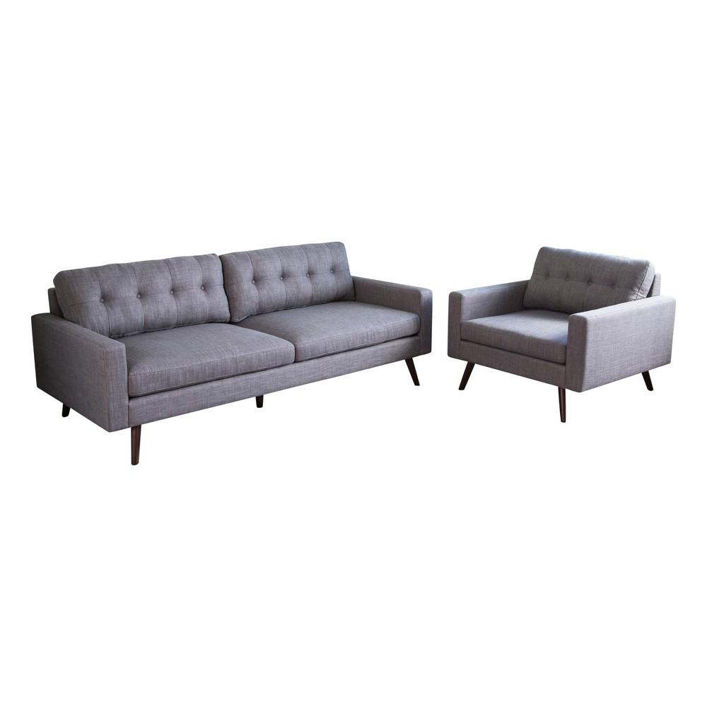 Image of 2pc Devon Mid Century Sofa and Armchair Gray- Abbyson Living, Gray