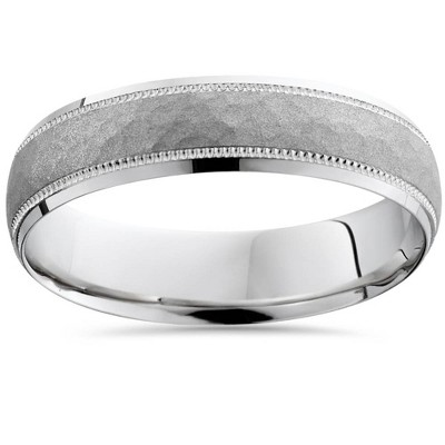 Pompeii3 Mens Hammered 10k White Gold Wedding Band 5mm