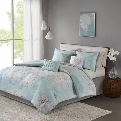 Blue Leslie Reversible Cotton Sateen Comforter Set (Queen)7pc