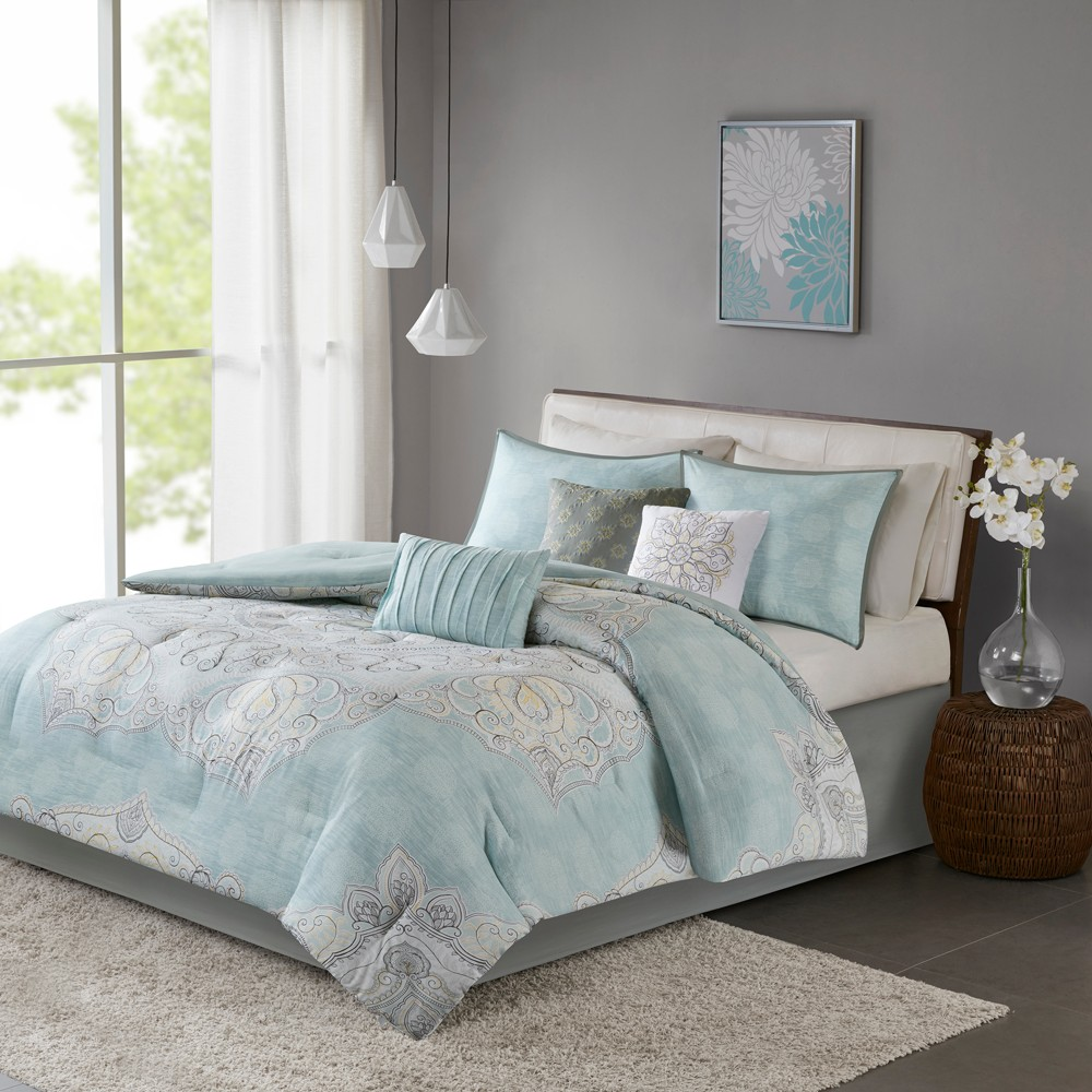 Blue Leslie Reversible Cotton Sateen Comforter Set (California King) 7pc, Green