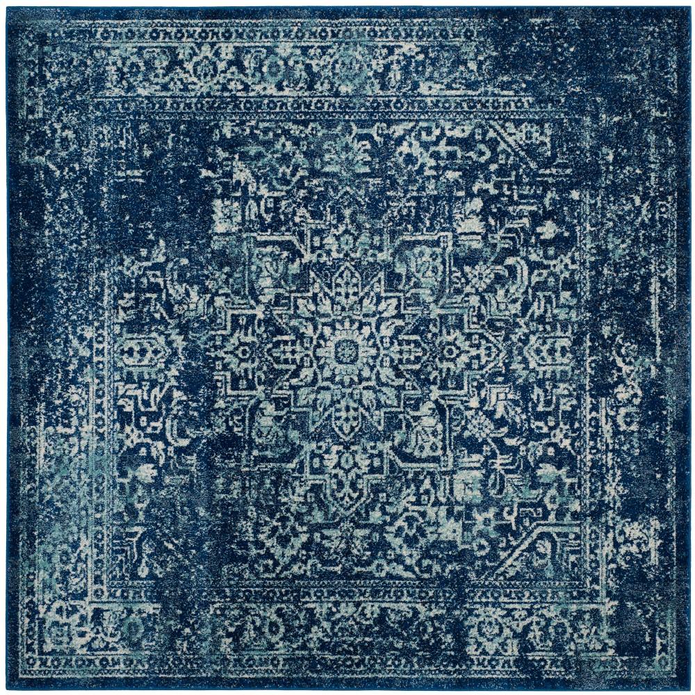 9'X9' Medallion Square Area Rug Navy/Ivory (Blue/Ivory) - Safavieh