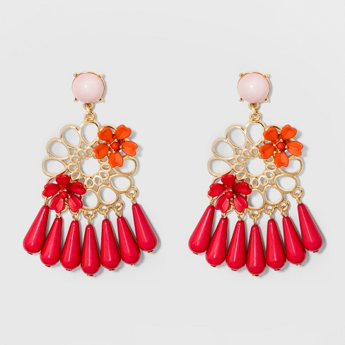 SUGARFIX by BaubleBar Mixed Media Floral Drop Earrings - Red - image 1 of 2