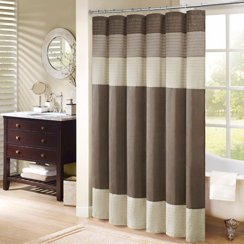 Salem Stripe Block Polyester Shower Curtain with Pintucking - image 1 of 4