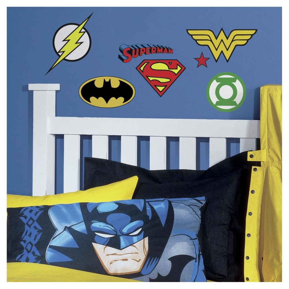 Image of RoomMates DC Superhero Logos Peel and Stick Wall Decals