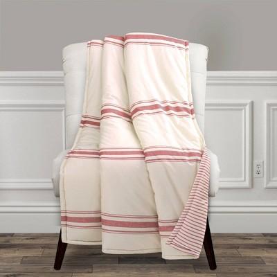 "Lush Décor 50""x60"" Farmhouse Stripe Throw Blanket Red"