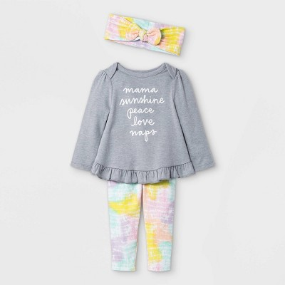 Baby Girls' Mama Tie-Dye Long Sleeve Top & Bottom Set with Headband - Cat & Jack™ Gray 3-6M