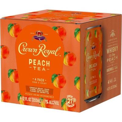 Crown Royal Peach Tea Whisky Cocktail - 4pk/12 fl oz Cans