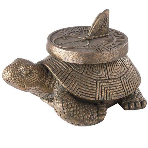 Tortoise Sundial Faux Stone Outdoor Garden Statue Plow Hearth