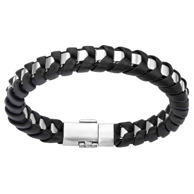 "Men's Steel Art Stainless Steel with Black Leather Thread Bracelet (8"")"