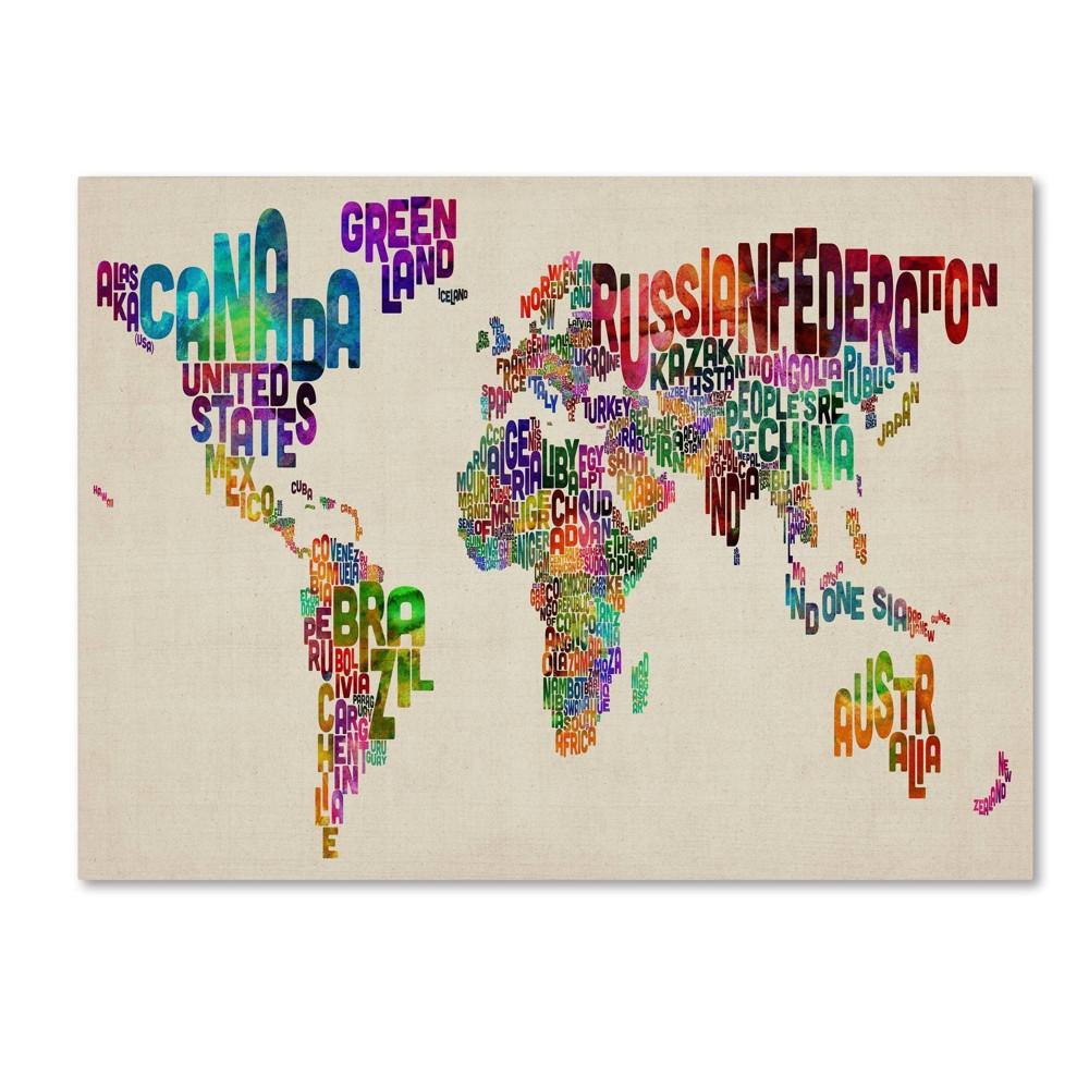 22 34 X 32 34 Typography World Map Ii By Michael Tompsett Trademark Fine Art