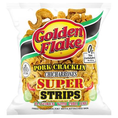 Golden Flake Pork Cracklin Chicharrones Super Strips - 3.25oz