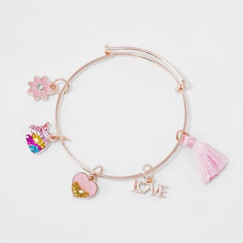 S Diy Charm Bangle Bracelet Cat Jack Rose Gold