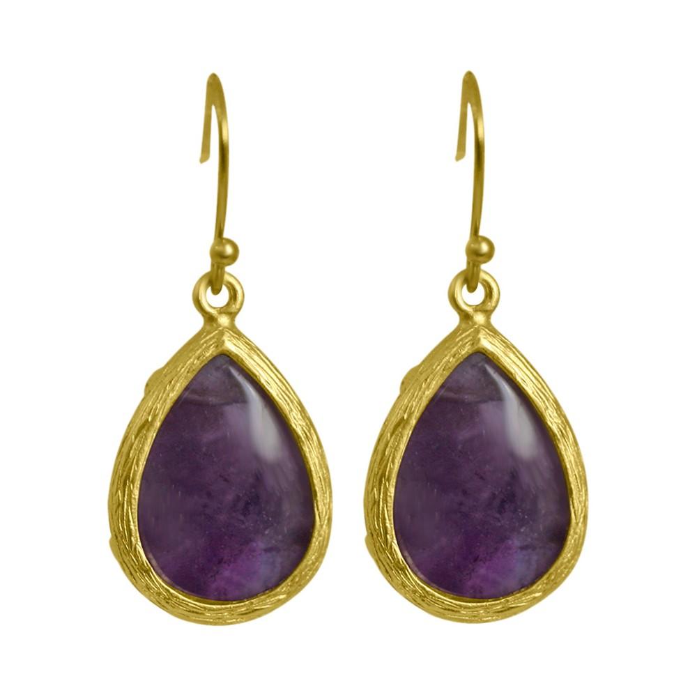Zirconite Elongated Pear Shape Drop Earring - Amethyst