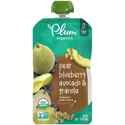 Plum Organics Stage 2 Pear Blueberry Avocado & Granola Baby Food Pouch - 3.5oz