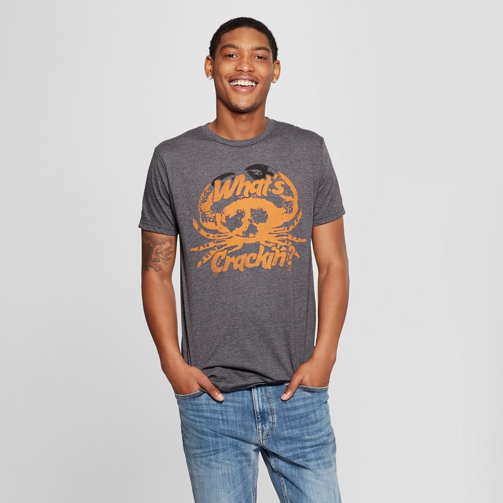 Men's Short Sleeve What's Crackin' Crab Graphic T-Shirt - Awake Charcoal XL, Gray