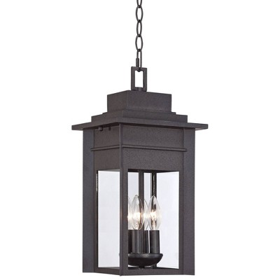 """Franklin Iron Works Outdoor Ceiling Light Hanging Lantern Black Specked Gray 17 1/2"""" Clear Glass for Exterior House Porch Patio"""