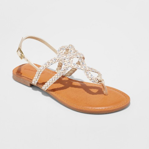 031f5ce54359 Women s Jana Braided Wide Width Thong Ankle Strap Sandal - Universal  Thread™ Gold 11W   Target