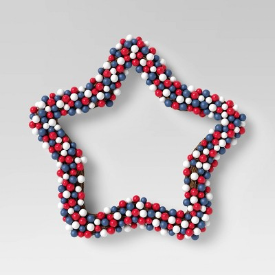 """18"""" Star Berry Wreath Blue/Red - Sun Squad™"""