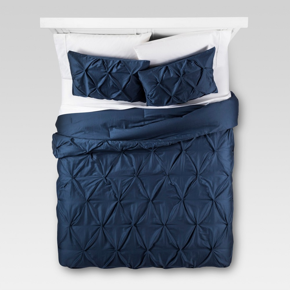 Dark Blue Pinched Pleat Comforter Set (Full/Queen) 3pc - Threshold