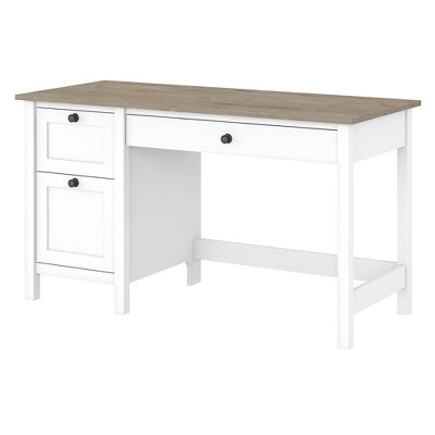 54W Mayfield Computer Desk with Drawers Shiplap Gray/Pure White - Bush Furniture