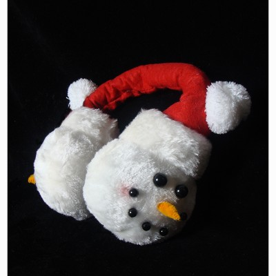 Sterling White and Red Snowmen Face Unisex Adult Christmas Ear Muffs Costume Accessory - One Size